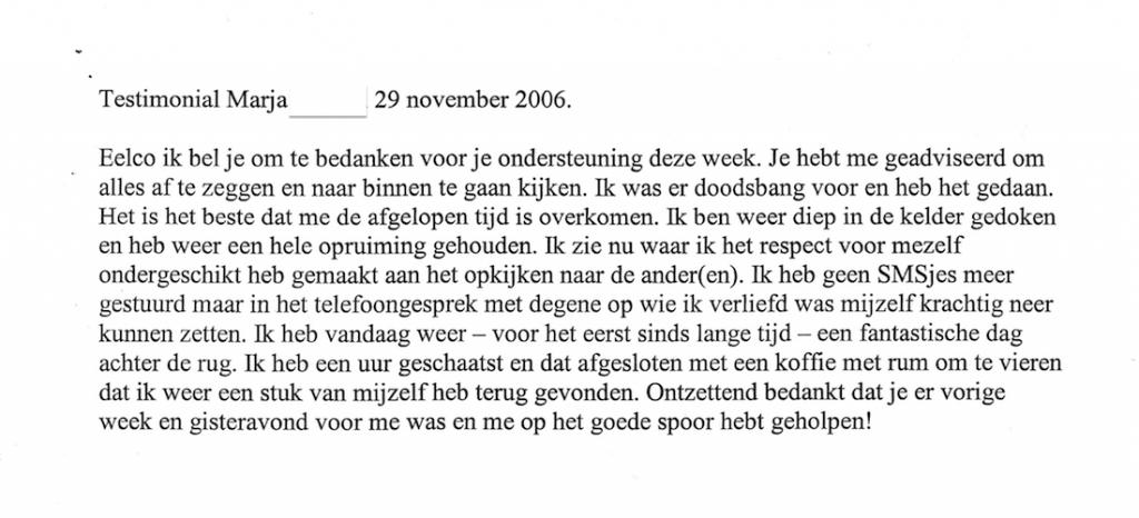 Testimonial Eelco van der Wal