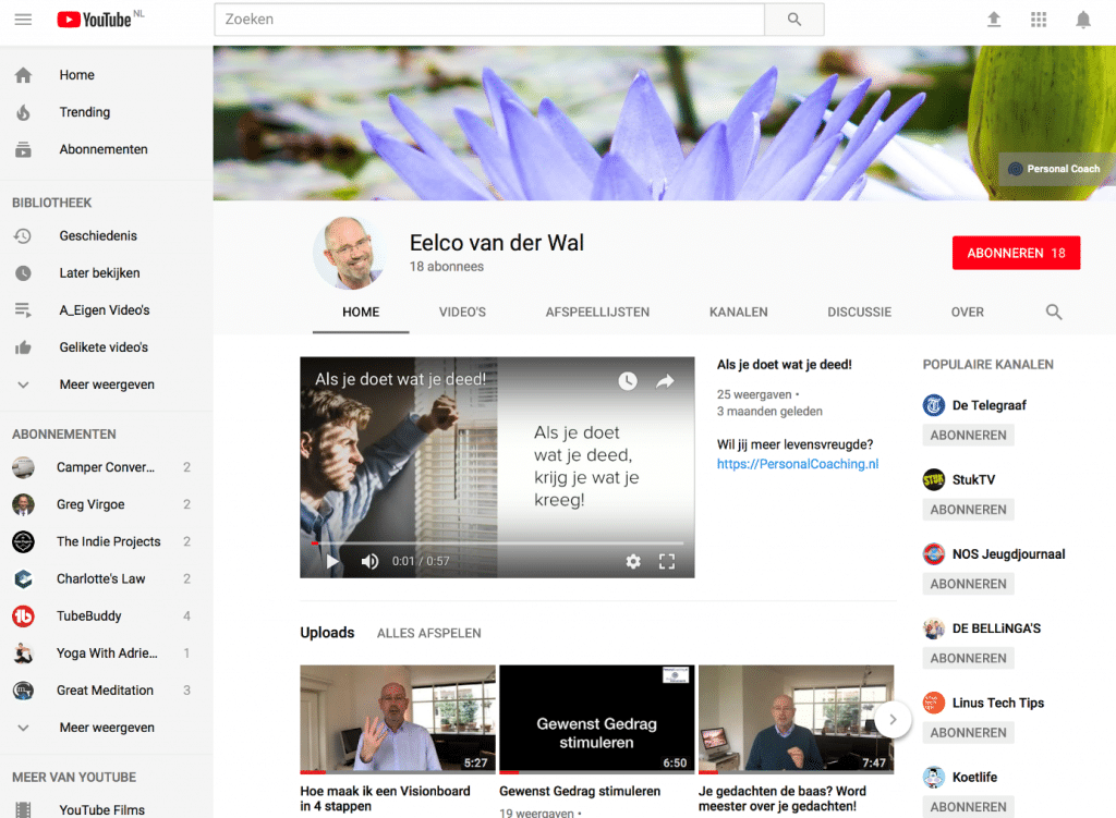 YouTube kanaal Personal Coaching.nl